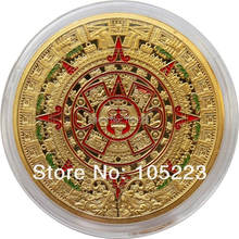25pcs/lot Free Shipping Wholesale 1 OZ Mayan Aztec Gods 24k.999 Gold Clad Coin Prophecy Calendar 2012