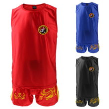 Boxing Martial Arts MMA Sanda Wushu Muay Thai Boxeo Taekwondo Clothes Dragon Embroidered Uniform Shorts Red XL Vest Set Kits(China)
