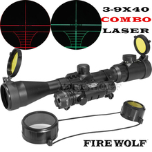 FIRE WOLF 3-9x40EG Red Green Illumination Riflescope Gun Rifle Scope & Detachable Green Laser Sight For Airsoft Huntin(China)