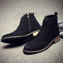 Spring Men Boots Faux Leather Dress Boots Suede Casual Men Shoes Botas Brand Black Male Suede Ankle Boots