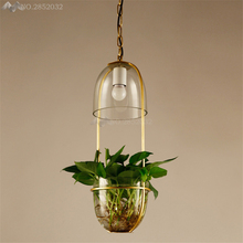 Pastoral Ecological Restaurant Creative Pendant Light Lighting Fixtures Glass Lampshade Plant Flower Pot,Hanging Lamps Balcony