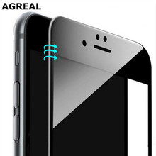 AGREAL 9H 3D Curved Edge Full Cover Mobile Phone Tempered Glass Front Screen Protector Protective Film for iphone 6 6s 7 plus