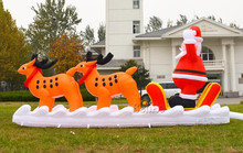 X147Free shipping 5m Decorative Inflatable Christmas Sleigh with Santa for Christmas,christmas inflatable Santa Claus decoration