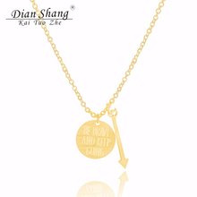 2017 Encourage Jewelry Be Brave And Keep Going Necklace Dainty Happiness Disc Arrow Pendant Necklace Couples Gift Collier Femme