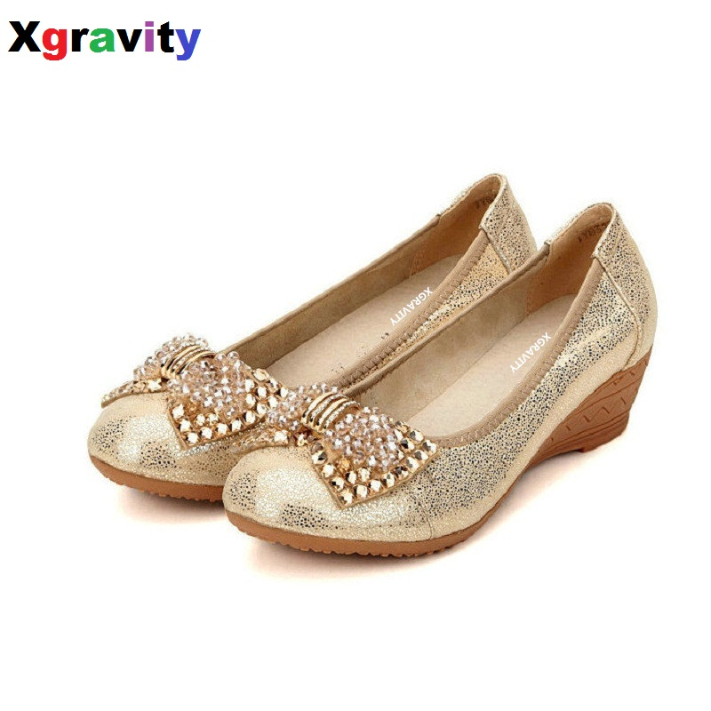 Autumn Gold Color Sheepskin Genuine Leather Lady Fashion Short Heel Wedge Shoes Crystal Bling Butterfly Knot Lady Shoes C127<br>