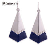Vintage Jewelry Ethnic Style Gold/silver Color Alloy Enamel Geometric Shaped Chunky Statement Dangle Earrings for women Brincos(China)