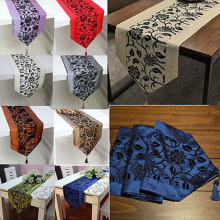 New Fashion Flower Blossom Flocked Damask Runner Cloth 9 Colors Flocked Table Runners For Wedding Party Table Decoration