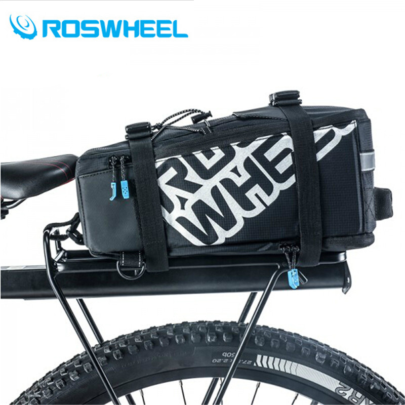 Top Sale ROSWHEEL Bicycle Bags 5L Cycling Bike Pannier Rear Seat Bags Rack Trunk Shoulder Handbag Black/Blue 2017 New Style<br>
