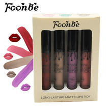 4 Pieces/set FOONBE Brand Makeup Matte Lipstick Kit Long Lasting Lip Gloss Set Waterproof Women Lips Make up Beauty Cosmetics