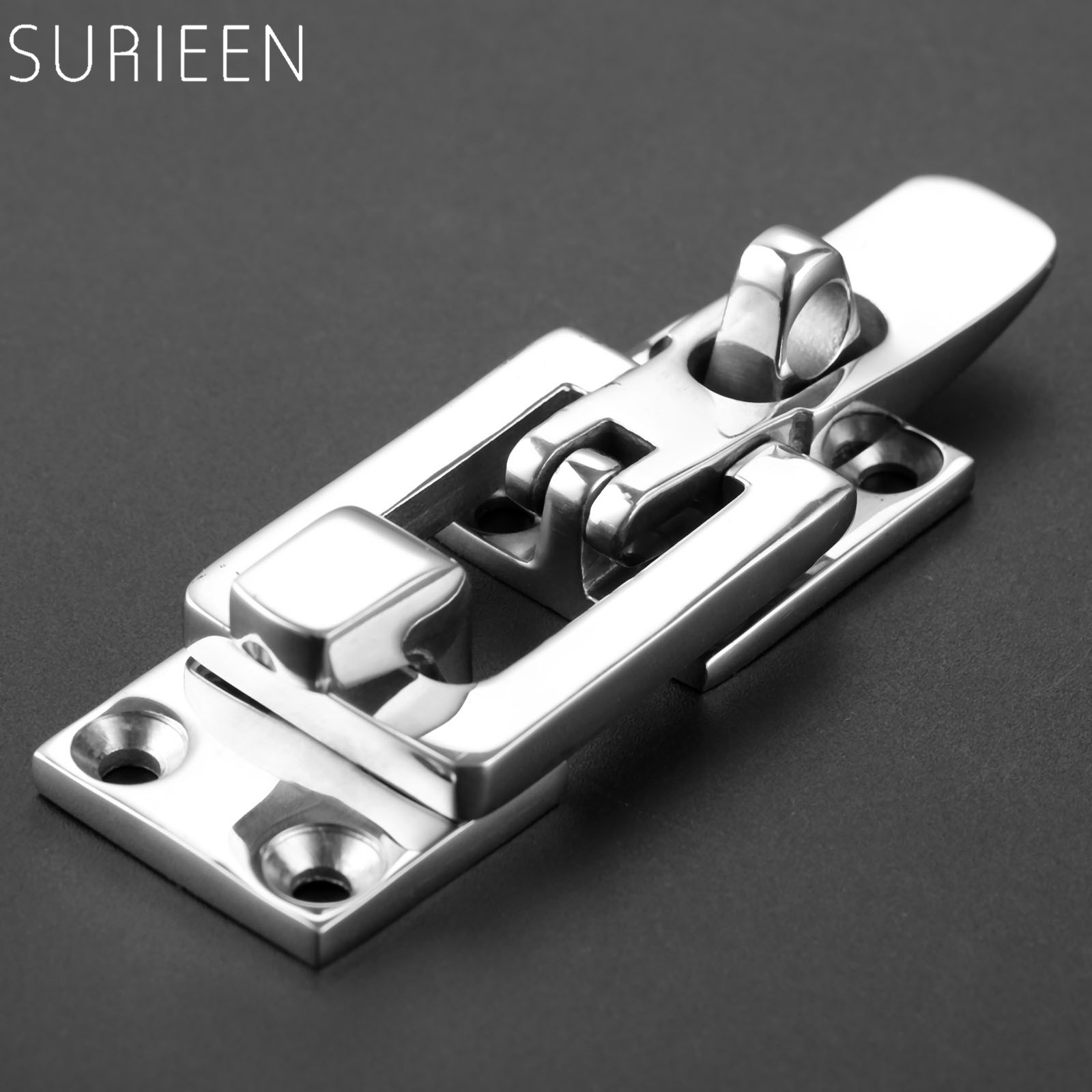 SURIEEN 1Pc Marine Boat Stainless Steel Locker Anti-Rattle Latch Fastener Clamp Safety Hasp Catch Lockable Fishing Tackle Carp