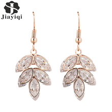 2017 New Hot Dangle Earring Rose Gold color Crystals Zircon Leaves Beautiful Fine Jewelry Drop Earrings For Women Girls Gift(China)