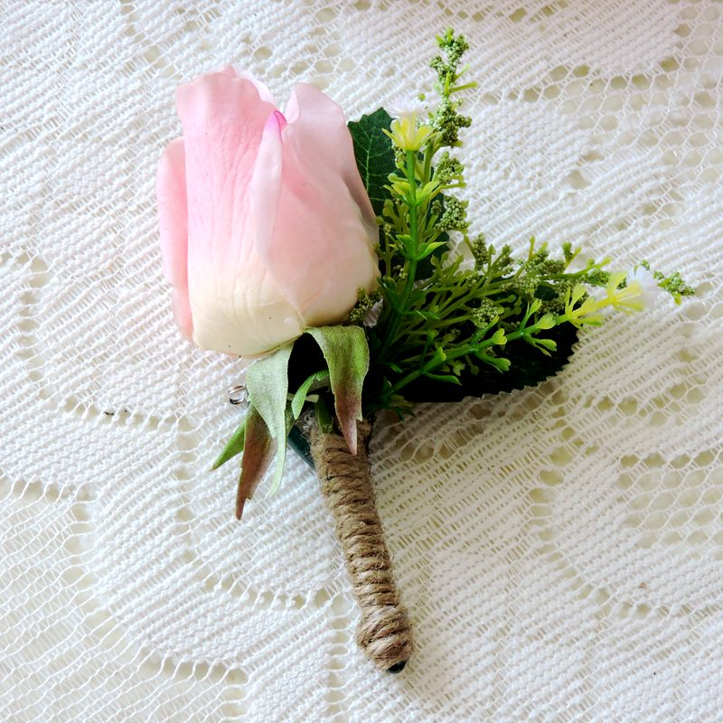 New Handmade Artificial Rose Boutonniere Wedding Church Decor Groom Corsages Buttonhole Flower Pin Pink FL1698(China)