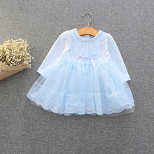 Retail-2018 spring autumn cute baby girls clothes baby infant lace dress ball gown girls birthday dress pink white blue 0-2T(China)