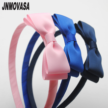 1pc solid colors cute bows baby girls hairbands kids headbands children hair hoop boutique tiara headwear hair accessories(China)