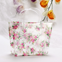 Elegant Rural Style Floral PVC Transparent Gift Bag.Practical Shopping Bag.Packaging Carrier Bags.Handbag.Wedding&Party Supplies