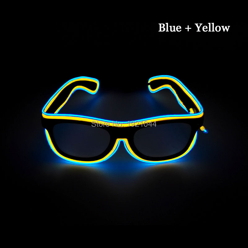 50pcs Multicolor Christmas Light Up Flashing LED Sunglasses Party Lighting Glasses El Wire Neon Props Halloween Party Favors