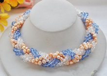 "LiiJi Unique 18"" Pink Baroque pearl blue clean crtsyal faceted knitting necklace"