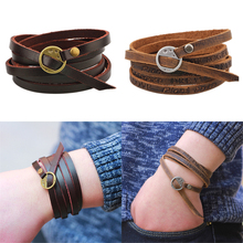 One Piece Wounded Men Leather Bracelet 2017 New Minimalist Style Multi-layer Bracelet Ladies Men Charm Style Bracelet pulseiras