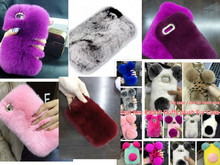 "Cute PANDA Real Rex Rabbit fur phone case for samsung GALAXY Ace 3 7270 S7272C fluffy plush Bling Diamond Cover Nature Fur 4.0""(China)"