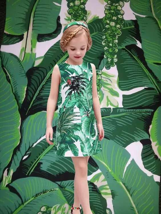 WL. MONSOON 2017 Brand  Girls Dresses Princess Dobby Leaf Print Mom and Daughter Matching Clothes<br><br>Aliexpress