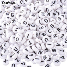 2017 New LASPERAL7mm Alphabet Acrylic Beads 400PCs White Random Mixed Letter Beads For Jewelry Making & DIY Baby Pacifier clip