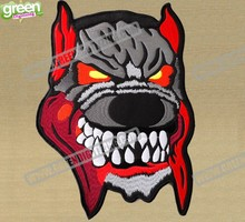 New Evil Dog Full Back Jacket Setting Embroidered Patches Motorcycle Club Applique Iron-on Patch 25.4cm*18.5cm Free Shipping