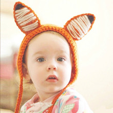 2017 New Baby Hats Fox Orange Winter Hats Ears Protecting Knitting Hat Crochet Beanie Boys Girls Cartoon Hat Fox Character(China)