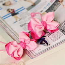 solid kids child girls hair ties elastic tiara bows satin flower hairbows headbands hairband floral accessories bands ST-36