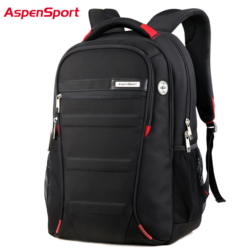 AspenSport Men&amp; Women Laptop Backpack 15.6-17Inch Rucksack SchooL Bag Travel Waterproof Backpack Men Notebook Computer Bag Black<br>