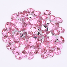 JUNAO2 3 4 6 8 10mm Light Pink Crystal Point Nails Rhinestones Round Acrylic Gems Non Hotfix Strass Pointback Crystals Applique(China)