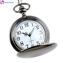 Smooth Stainless Steel Case White Dial Arabic Numbers Modern Fashion trends  40cm Retro Pendant Necklace Pocket Watch #45