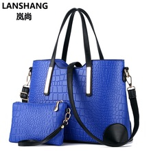 2017 Luxury Crocodile Big Composite Women Handbag Famous Brand Lady Bucket Totes Shoulder Bag Messenger Bag Black Blue Red DXF02(China)