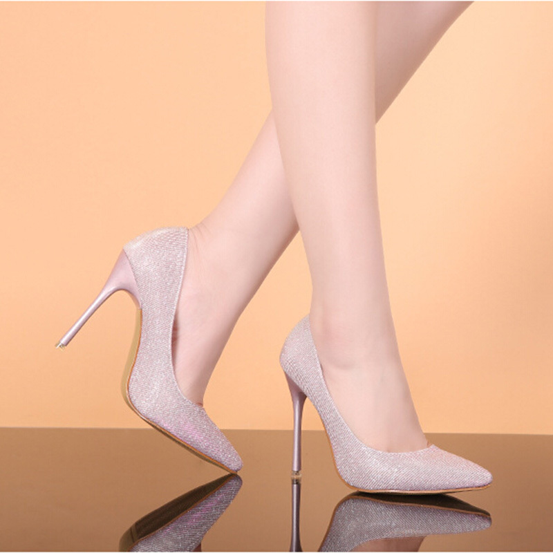 2017 New Shoes Thin Heel Pumps Women Shoes Sexy Black Pink Silver Gray Gold Pointed High Heels Single Shoes Plus Size 40 ZK1.5<br><br>Aliexpress