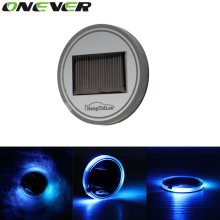 Universal Car Anti Slip Mat Waterproof Solar LED Car Cup Holder Mat Pad Bottle Drinks Coaster Built-in Vibration & Light Sensor