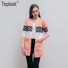 Toplook Vintage Printed Womens Cardigans Sweaters 2017 Winter and Autumn Long Sleeve O-Neck Sweater Fitness Pockets Sweater Coat(China)