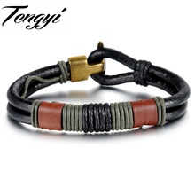 Punk Real Leather Bracelet,Orange Soft Cowskin Leather Charm,Nice Bracelet for man with special claps  859