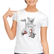 yiwuliming 2016 Top Quality Lovely Dogs Printed T-shirt Women Animal Graphic  French Bulldogs T shirt For Women Dog