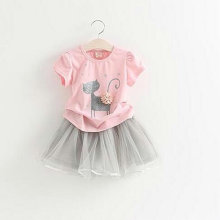 Toddler Girls Shirt Skirt Suits Summer Kitty Cat Tee+TUTU Dress Ball Gowns Girls Princess Clothes Suits Cute Pullover LM006