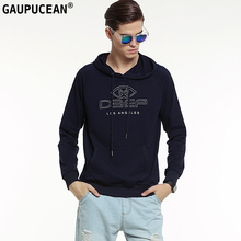 Genuine Gaupucean Man Hoodie Cotton High Quality Fashion Navy Blue Grey White Casual Full Long Sleeve Men Hooded Sweatshirt(China)