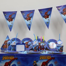 spiderman cartoon kids boys birthday decoration paper plates +cups +flags + tablecloth party supplies 26pcs/lot for 4 people