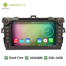 "Quad core WIFI Android 5.1.1 2Din 8"" FM BT 1024*600 Car DVD Player Radio Stereo PC Audio Screen GPS For TOYOTA Corolla 2006-2011(China)"