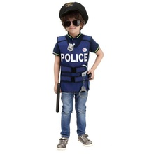 Halloween Game Show New Super Policeman Cosplay Policeman Vest Cute BOY Dress Children Performance Clothing(China)