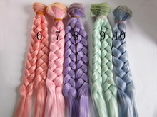 1pcs 20cm*100CM doll Wigs/hair Braids hairstyle for 1/3 1/4 BJD/SD diy Modeling Pink purple mint green