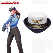 Game OW D.va DVA Cosplay Officer Hat Costume Accessories Hana Song Women Police Uniform Cap Female Duty Headgear Gift(China)