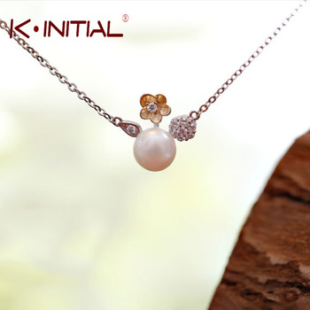 Kinitial 1Pcs 925 Silver Chain Romantic Flower Choker Necklace Simulated Pearl Necklace Sweater Fashion Flower Jewelry Bijoux