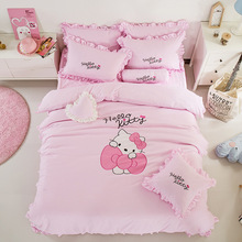 Korean Style Hello Kitty Bed Skirt Bedding Set 3-4pcs Cartoon Bed Linen for Kids Gift Include Duvet Cover Bed Skirt Pillowcases