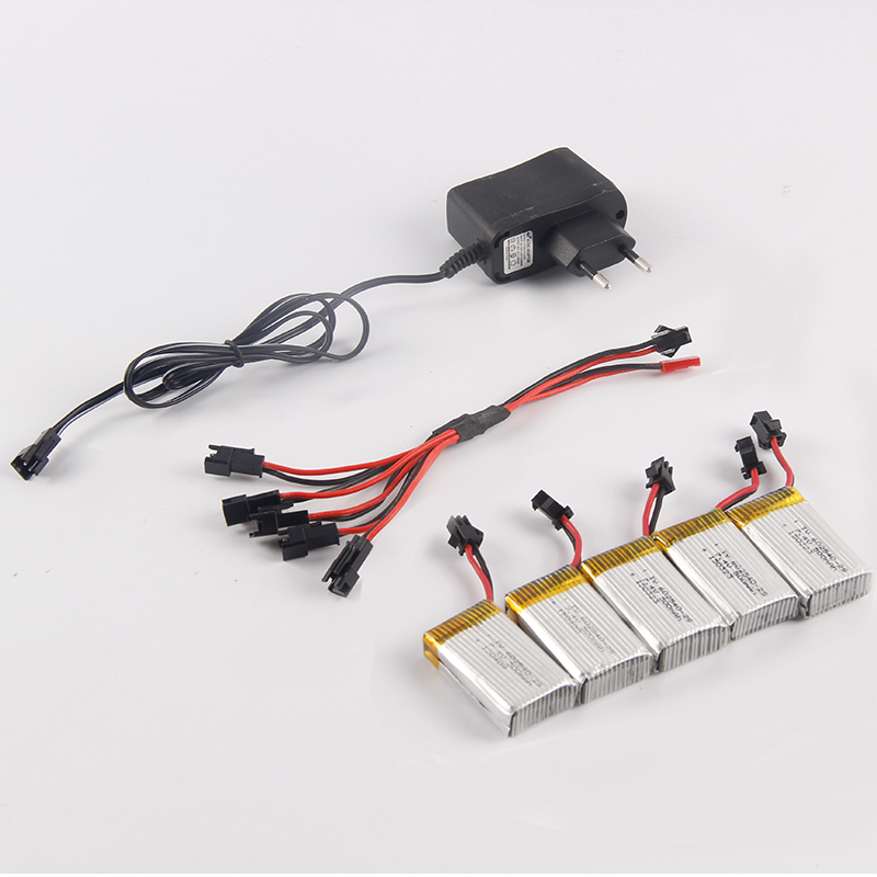 500MAH 7.4V Lipo Battery with 5pcs in JST 2 to 5 Battery Charger for JJRC H8C DFD F183 <br>