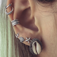 Fashion Helix Ear Piercing Body Jewelry Shellhard Bohemian Women Shell Leaf Clip Cuff Ear Sets Charm Star Cartilage Earings(China)