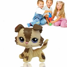 2017 New Baby Hasbro Littlest Pet Shop LPS Tan Brown Black Gray Short Hair Cat Dog Toy For Baby Children