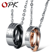 OPK JEWELRY Couple pendant  Last Design Stainless steel Fashion tricyclic necklace with cross mark  valentine gift